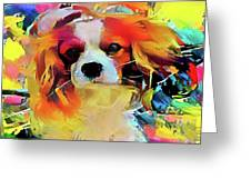 King Charles Spaniel On The Move Greeting Card