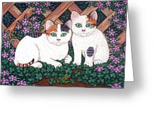 Kittens And Clover Greeting Card
