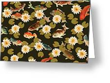 Koi And Lily Pads In Dark Water Greeting Card