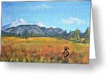 Kokopelli And The San Francisco Peaks Greeting Card by Chance Kafka