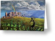 Kokopelli And The Superstition Mountains Greeting Card by Chance Kafka