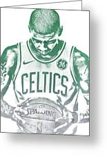 Kyrie Irving Boston Celtics Water Color Pixel Art 30 Greeting Card