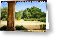 La Purisima Mission Garden From The Arcade Greeting Card