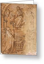 La Virgen En Gloria Apareciendose A Varios Santos  Greeting Card