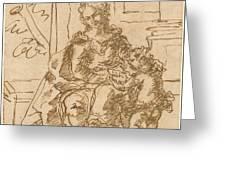 La Virgen Ensena A Leer Al Nino  Greeting Card