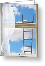 Ladder Against Window Pane Greeting Card
