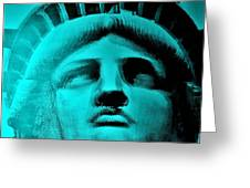 Lady Liberty In Turquoise Greeting Card