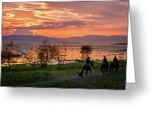 Lake Chapala Sunset And Horses Greeting Card