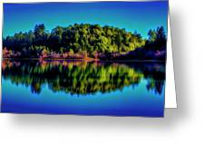Lake Double Reflection Greeting Card