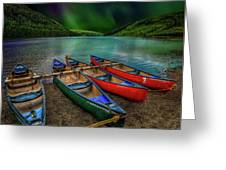 lake Geirionydd Canoes Greeting Card by Adrian Evans