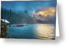 Lake Louise Canoes In The Morning Greeting Card