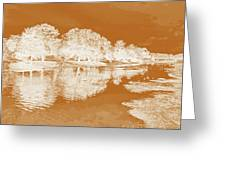 Lake Reflections In Brown Greeting Card