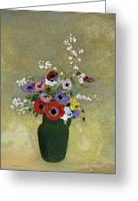 Large Green Vase With Mixed Flowers, 1912 Greeting Card