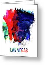 Las Vegas Skyline Brush Stroke Watercolor   Greeting Card
