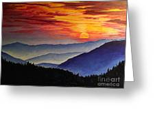 Laurens Sunset And Mountains Greeting Card