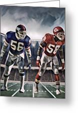 Lawrence Taylor New York Giants And Derrick Thomas Kansas City Chiefs Abstract Art 1 Greeting Card