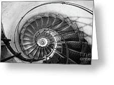 Lblack And White View Of Spiral Stairs Inside The Arch De Triump Greeting Card