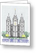 Lds Salt Lake Temple - Colorized Greeting Card