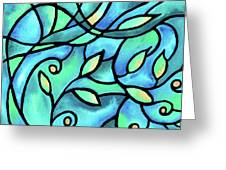 Leaves And Curves Art Nouveau Style II Greeting Card