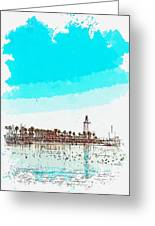 lighthouse 9, watercolor by Adam Asar Greeting Card