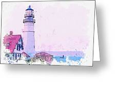 Lighthouse, Cape Elizabeth, United States -  Watercolor By Ahmet Asar Greeting Card