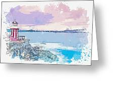 Lighthouse, Sydney, Australia -  Watercolor By Ahmet Asar Greeting Card