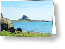 Lindisfarne Castle And Bay Greeting Card