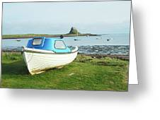 Lindisfarne Castle, Bay And Boat Greeting Card
