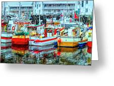 Line Up Of Fishing Boats Greeting Card by Debra and Dave Vanderlaan
