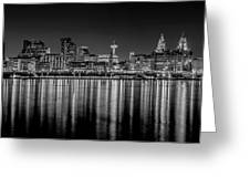Liverpool Skyline In The Night Black And White Greeting Card