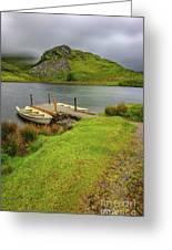 Llyn Y Dywarchen Boats Snowdonia Greeting Card