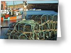 lobster pots and trawlers at Dunbar harbour Greeting Card