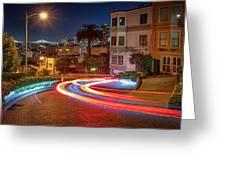 Lombard Street And The Bay Bridge Greeting Card