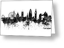 London Black And White Watercolor Skyline Silhouette Greeting Card