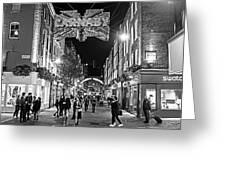London Nightlife Carnaby Street London Uk United Kingdom Black And White Greeting Card