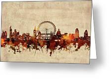 London Skyline Sepia Greeting Card