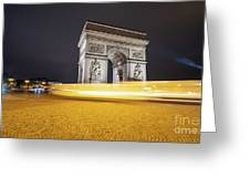 Long Exposure Picture Of Paris Arch De Triomphe At Night   Greeting Card