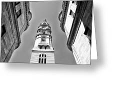 Looking Up - City Hall Court Yard In Black And White Greeting Card