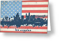 Los Angeles Skyline Flag Greeting Card