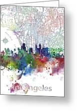 Los Angeles Skyline Map Watercolor 3 Greeting Card