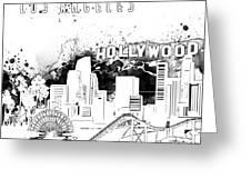 Los Angeles Skyline Panorama White Greeting Card