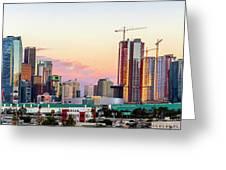 Los Angeles Skyline Sunset - Panorama Greeting Card