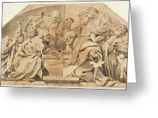 Los Apostoles Ante El Sepulcro Vacio De La Virgen  Greeting Card