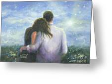Lovers Looking Forward Brunettes Greeting Card