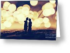 Loving Couple Standing In A Cozy Winter Scenery. Greeting Card