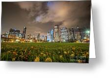 Low Angle Picture Of Downtown Chicago Skyline During Winter Nigh Greeting Card
