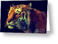 Low Poly Design. Tiger Illustration Greeting Card