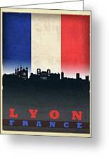 Lyon France City Skyline Flag Greeting Card
