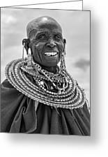 Maasai Woman In Black And White Greeting Card