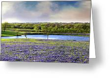 Mach Road Blubonnet Panorama In Evening Light Greeting Card